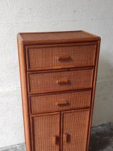 Commode 3 tiroirs bois et cannage – années 80