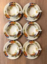Set de 6 tasses et sous tasses en faïence