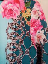 Robe droite style vintage, bleu ciel, multicolore