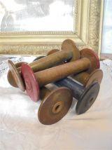 5 anciennes bobines en bois