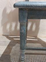 Chaise bleu blanc cannage, sculptée
