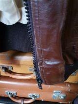 Veste cuir courte marron foncée