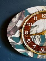 "Horloge vintage pendule murale silencieuse ovale ""Végétal"""