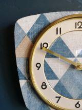 """Horloge formica vintage pendule murale """"Triangles Bleus"""""""