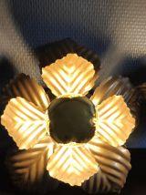 appliques feuilles murales en métal doré