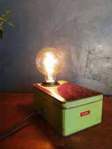 """Lampe vintage lampe de chevet métal """"Boîte à Gants"""""""