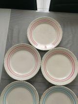 6 assiettes Ariete 3 bleus et 3 roses