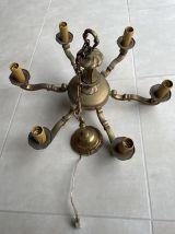 Grand lustre Lustre chandelier ancien en laiton 6 branches