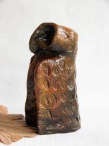 Grande chouette en argile polymère, pièce unique fait main.