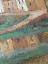 Peinture sur toile village Espagnol, Besalu.