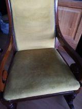 Rocking chair, bois et velours