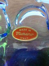 "Cendrier ou vide poche ""Murano"" couleur bleu cobalt et vert"