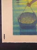 Lithographie originale couleurs Toffoli - Rizière