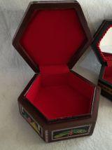 LOT 2 boites bijoux bois et nacre