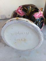 Joli vase Vallauris rose et noir anses