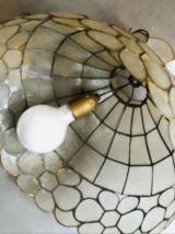Lustre vintage nacre et laiton forme fleur
