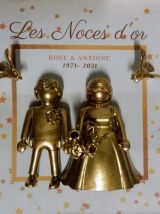 Cadre Playmobil, Noces d'Or, personnalisable, couple or