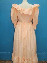 robe longue à volant orange pale année 60-70