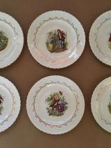 "6 Assiettes Plates  ""L'Amandinoise"", Style Fragonard"