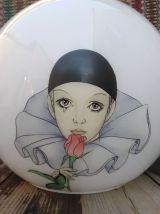 Lustre globe Pierrot  en opaline