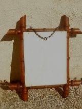 Miroir ancien en bois, sculpté façon bambou