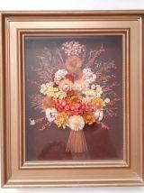 Ancien Tableau mural vintage, fleurs séchées année 1960 1970