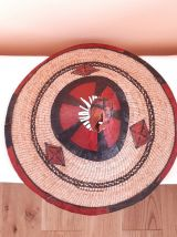 DECOR MURALE -chapeau Africain raphia et cuir,années 80