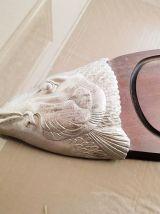 Plateau de découpe poisson en bois et argenté ( ref K 33 )