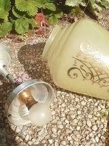 suspension  oblong en verre  decoré , vintage