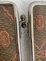 Miroir vintage 1930 triptyque barbier cristal cuir- 28 x 68
