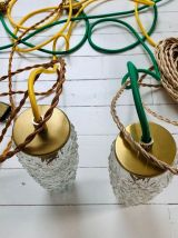 2 baladeuses / suspensions en verre ciselé