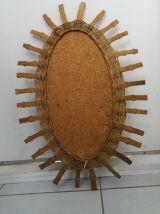 Miroir Ovale en rotin et bambou Vintage