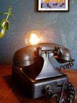 Lampe téléphone vintage bakélite noire années 40 Black Phone