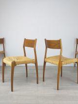 Chaises design type scandinave en frêne et paille années 60