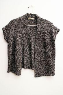 Kimono court en maille gris