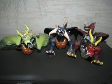 Lot de 3 dragons articulés