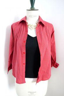 Chemise rouge rayée avec manches longues T34