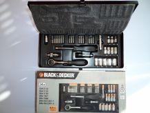 BLACK & DECKER - Coffret cliquet et douilles 34 pièces 1/4 Chrome Vanadium