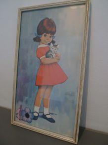 Tableau Vintage petite fille LINDY de Dickens