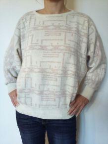 Pull en laine d'agneau et angora /Tricot vintage/ Taille M.
