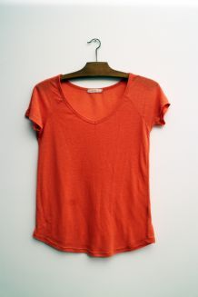 T-shirt corail col V