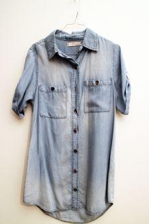 Chemise longue jean manches courtes