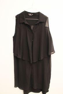 Robe chemise noire mousseline