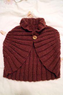Gilet bolero prune tricot fait main