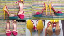 Sandales colorées à talons hauts