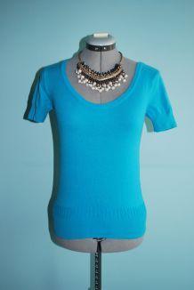 Petit pull bleu turquoise à manches courtes H&M