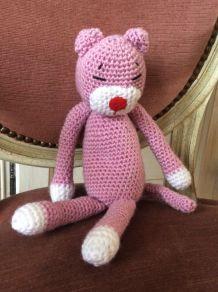 Chat au crochet tricot vintage décoration enfance