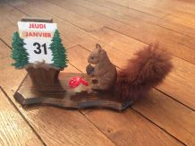 Calendrier perpétuel écureuil et champignons vintage et rétro