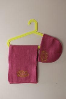 Écharpe et bonnet Roxy en laine rose et or