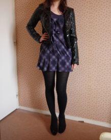 Veste blouson perfecto noir brillante zip Topshop matelassé neuf T36